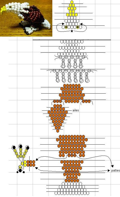 Простые схемы плетения животных из бисера